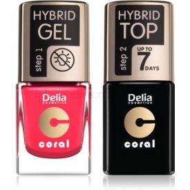 Delia Cosmetics Coral Nail Enamel Hybrid Gel kozmetická sada pre ženy odstín 03
