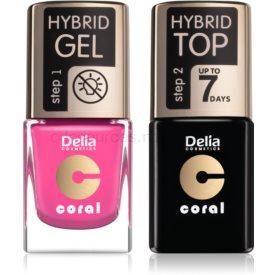 Delia Cosmetics Coral Nail Enamel Hybrid Gel kozmetická sada pre ženy odstín 22