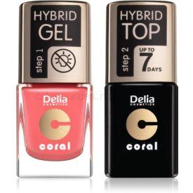 Delia Cosmetics Coral Nail Enamel Hybrid Gel kozmetická sada pre ženy odstín 16