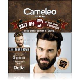 Delia Cosmetics Cameleo Men jednorázová farba pre okamžité zakrytie šedín odtieň 3.0 Dark Brown 2 x 15 ml