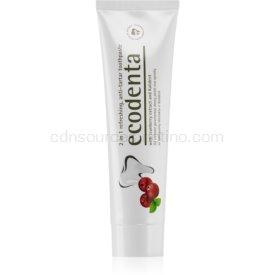 Ecodenta Green Tartar Eliminating osviežujúca zubná pasta proti zubnému kameňu s fluoridom príchuť Cranberry 100 ml