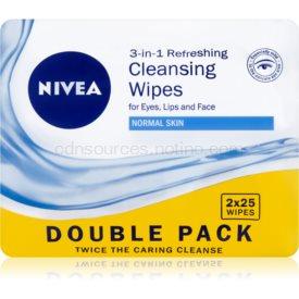 Nivea 3in1 Refreshing odličovacie obrúsky pre normálnu pleť Double Pack 2 x 25 ks