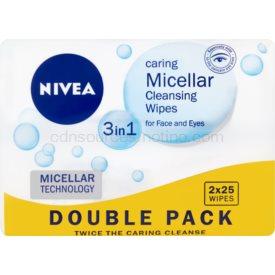 Nivea Micellar čistiace pleťové micelárne obrúsky 3v1 2x25 ks