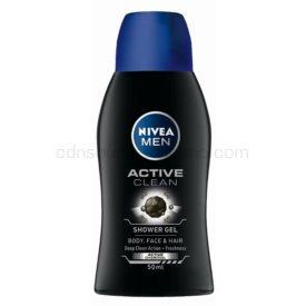 Nivea Men Active Clean sprchový gél na tvár, telo a vlasy pre mužov 50 ml