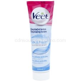 Veet Silk & Fresh depilačný krém na nohy pre citlivú pokožku aloe vera a vitamín E 100 ml