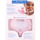 Curaprox Curababy prsten za žvakanje s masažnom zubnom četkicom i zvečkom
