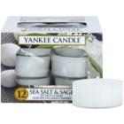 Yankee Candle Sea Salt & Sage čajová svíčka 12 x 9,8 g