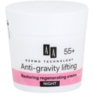 AA Cosmetics Dermo Technology Anti-Gravity Lifting Renewing Night Cream with Regenerating Effect 55+ (Collagen 3D Complex, Argan Oil) 50 ml
