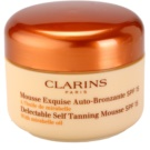 Clarins Sun Self-Tanners espuma bronzeadora para rosto e corpo SPF 15 (Delectable Self Tanning Mousse with Mirabelle Oil) 125 ml