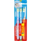 Colgate Extra Clean Medium Toothbrushes 3 pcs Violet & Blue & Orange (Reaches Back Teeth)
