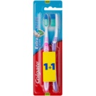Colgate Extra Clean Medium Toothbrushes 2 pcs Pink & Violet (Reaches Back Teeth)