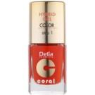 Delia Cosmetics Coral Nail Enamel Hybrid Gel Gel Nail Polish Color 02 (Step 1) 11 ml