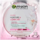 Garnier Skin Naturals Moisture+Comfort máscara têxtil perfeita para hidratação e relaxamento para pele seca a sensível 32 g