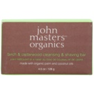 John Masters Organics Birch & Cedarwood Cleansing & Shaving Bar jabón multifuncional para hombre y mujer (Made with Organic Palm and Coconut Oils) 128 g