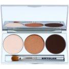 Kryolan Basic Eyes Palette mit Lidschatten inkl. Spiegel und Pinsel Farbton Smokey Beige 7,5 g