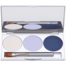 Kryolan Basic Eyes Palette mit Lidschatten inkl. Spiegel und Pinsel Farbton Smokey Blue 7,5 g