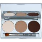 Kryolan Basic Eyes Palette mit Lidschatten inkl. Spiegel und Pinsel Farbton Smokey Nude 7,5 g
