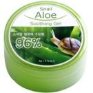 Missha Snail Aloe gel calmante e hidratante com aloe vera e com extrato de baba de caracol (Aloe Vera Left Extract 95%, Slime of Snail Feed Aloe 1%) 285 ml