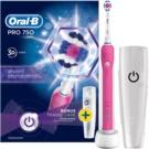 Oral B Pro 750 D16.513.UX 3D White elektryczna szczoteczka do zębów Pink (1 Replacement Brush Head)  szt.