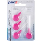 Paro Flexi Grip 4 Stück extra dünne Interdentalbürsten 1078 Pink XXXXX-Fine 0,4 - 2,0 mm (Soft Rubber for a Non-Slip Grip)