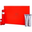 Perry Ellis 360° Red подаръчен комплект I. тоалетна вода 100 ml + тоалетна вода 7,5 ml + балсам след бръснене 90 ml + душ гел 90 ml