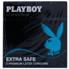 Playboy Extra Safe preservativos naturais, largos e extra lubrificantes 3 un.