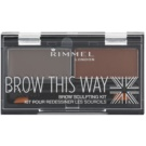 Rimmel Brow This Way paleta pentru machiaj sprancene Dark Brown 2,4 g