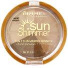 Rimmel Sun Shimmer 3 in 1 Shimmering Bonzer třpytivý bronzující pudr odstín 002 Bronze Goddess  9,9 g