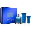 Salvatore Ferragamo Acqua Essenziale Blu lote de regalo V.  eau de toilette 100 ml + bálsamo after shave 50 ml + gel de ducha 100 ml