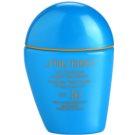 Shiseido Sun Foundation Base líquida à prova de água SPF 30  tom Medium Ivory  30 ml