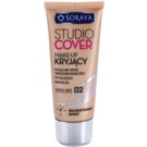 Soraya Studio Cover base de maquillaje cubre imperfecciones con vitamina E tono 02 Warm Beige (Long Lasting, Covers Imperfections, Smoothes and Moisturizes) 30 ml
