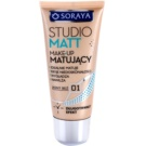 Soraya Studio Matt podkład matujący podkład matujący z witaminą E odcień 01 Light Beige (Long Lasting, Ideally Mats, Conceals Imperfections, Smoothes and Moisturizes) 30 ml