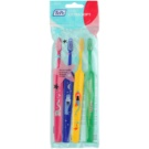 TePe Kids zubní kartáčky pro děti extra soft 4 ks Pink & Dark Blue & Yellow & Dark Green (Small Toothbrush with Tapered Brush Head)