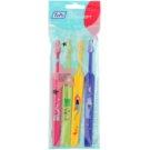 TePe Kids zubní kartáčky pro děti extra soft 4 ks Pink & Light Green & Yellow & Dark Blue (Small Toothbrush with Tapered Brush Head)