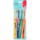 TePe Kids zubní kartáčky pro děti extra soft 4 ks Yellow & Dark Blue & Dark Green & Orange (Small Toothbrush with Tapered Brush Head)