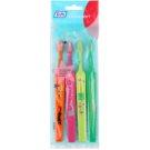 TePe Kids zubní kartáčky pro děti extra soft 4 ks Orange & Pink & Light Green & Dark Green (Small Toothbrush with Tapered Brush Head)
