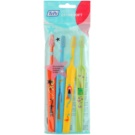 TePe Kids zubní kartáčky pro děti extra soft 4 ks Orange & Light Blue & Yellow & Light Green (Small Toothbrush with Tapered Brush Head)