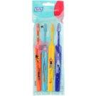 TePe Kids zubní kartáčky pro děti extra soft 4 ks Orange & Light Blue & Yellow & Dark Blue (Small Toothbrush with Tapered Brush Head)