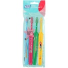 TePe Kids zubní kartáčky pro děti extra soft 4 ks Light Blue & Pink & Dark Green & Yellow (Small Toothbrush with Tapered Brush Head)
