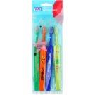 TePe Kids zubní kartáčky pro děti extra soft 4 ks Dark Green & Orange & Dark Blue & Light Green (Small Toothbrush with Tapered Brush Head)