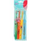 TePe Kids zubní kartáčky pro děti extra soft 4 ks Dark Green & Orange & Yellow & Light Blue (Small Toothbrush with Tapered Brush Head)