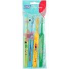 TePe Kids zubní kartáčky pro děti extra soft 4 ks Light Green & Light Blue & Yellow & Dark Green (Small Toothbrush with Tapered Brush Head)