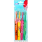 TePe Kids zubní kartáčky pro děti extra soft 4 ks Orange & Yellow & Pink & Dark Green (Small Toothbrush with Tapered Brush Head)
