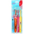 TePe Kids zubní kartáčky pro děti extra soft 4 ks Light Blue & Orange & Pink & Yellow (Small Toothbrush with Tapered Brush Head)