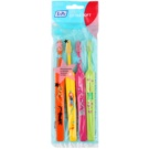 TePe Kids zubní kartáčky pro děti extra soft 4 ks Orange & Yellow & Pink & Light Green (Small Toothbrush with Tapered Brush Head)