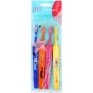 TePe Kids zubní kartáčky pro děti extra soft 4 ks Dark Blue & Orange & Pink & Yellow (Small Toothbrush with Tapered Brush Head)