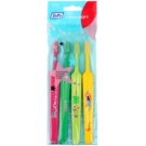 TePe Kids zubní kartáčky pro děti extra soft 4 ks Pink & Dark Green & Light Green & Yellow (Small Toothbrush with Tapered Brush Head)