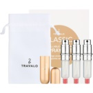 Travalo Classic HD Gift Set IV. Gold Refillable Atomizer 3 x 5 ml + suede pouch