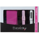 Travalo Excel ajándékszett II. (Pink and Silver) szórófejes parfüm utántöltő palack 2 x 5 ml + tok 6,5 x 8,5 cm