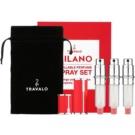 Travalo Milano set cadou Red sticluta reincarcabila cu atomizér 3 x 5 ml + husă din piele de căprioară